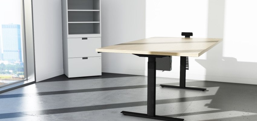 Sit Stand Desk Wooden Surface